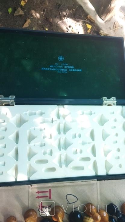 Деревянные шахматы на пластмассовой доске., фото №5