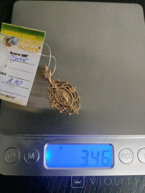 Подвеска кулон Исус, золото 585, новое, фото №4