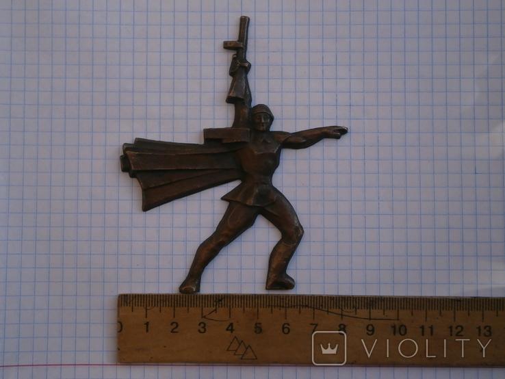 Барельеф Солдат с автоматом ППШ СССР - Медь, фото №11