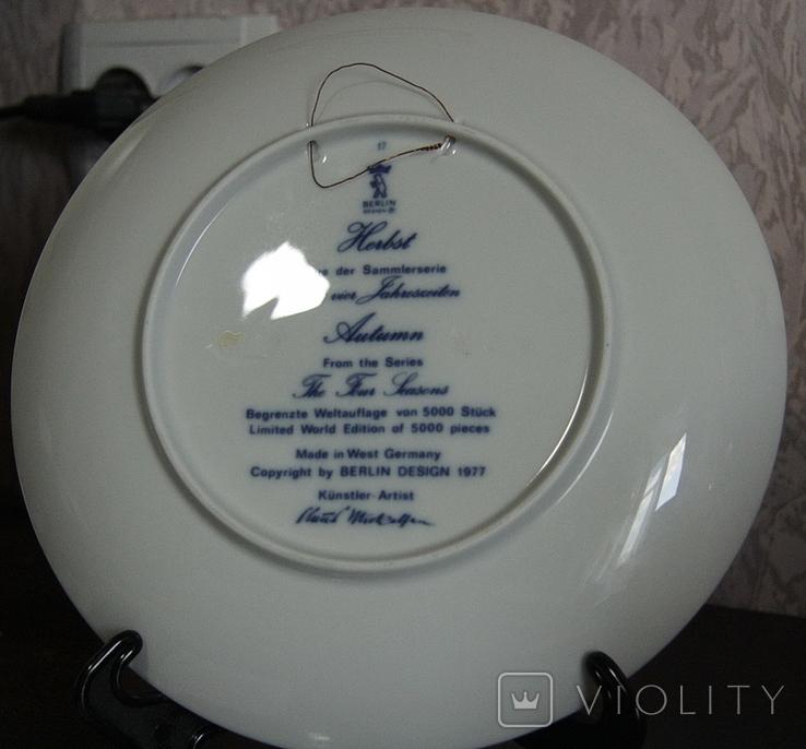 "Набор декоративных тарелок ""Времена года"" Berlin Design 1977 год, фото №7"
