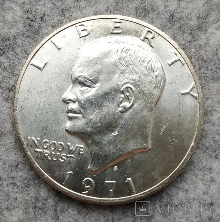 США 1 доллар 1971 S серебро, фото №2