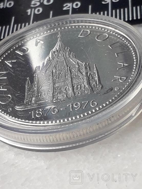1 доллар, Канада, 1976 год, 100 лет парламентской библиотеке, серебро, фото №3