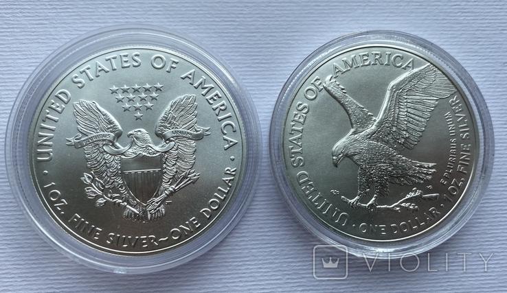 Доллар США 2021 новый и старый дизайн Американский орёл Шагающая свобода, фото №2