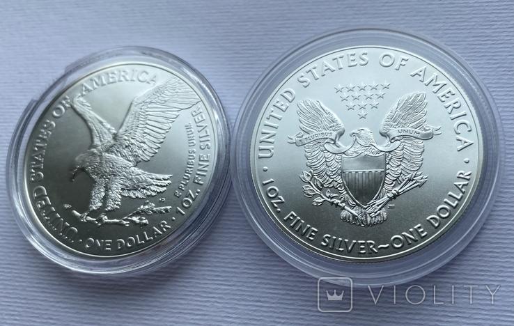 Доллар США 2021 новый и старый дизайн Американский орёл Шагающая свобода, фото №4