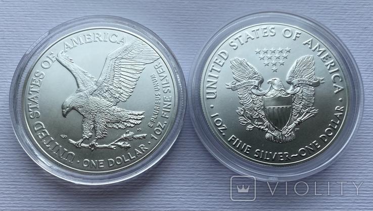 Доллар США 2021 новый и старый дизайн Американский орёл Шагающая свобода, фото №5
