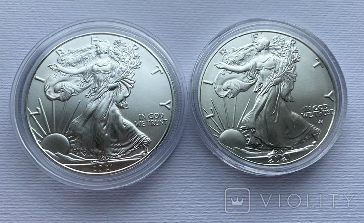 Доллар США 2021 новый и старый дизайн Американский орёл Шагающая свобода, фото №8