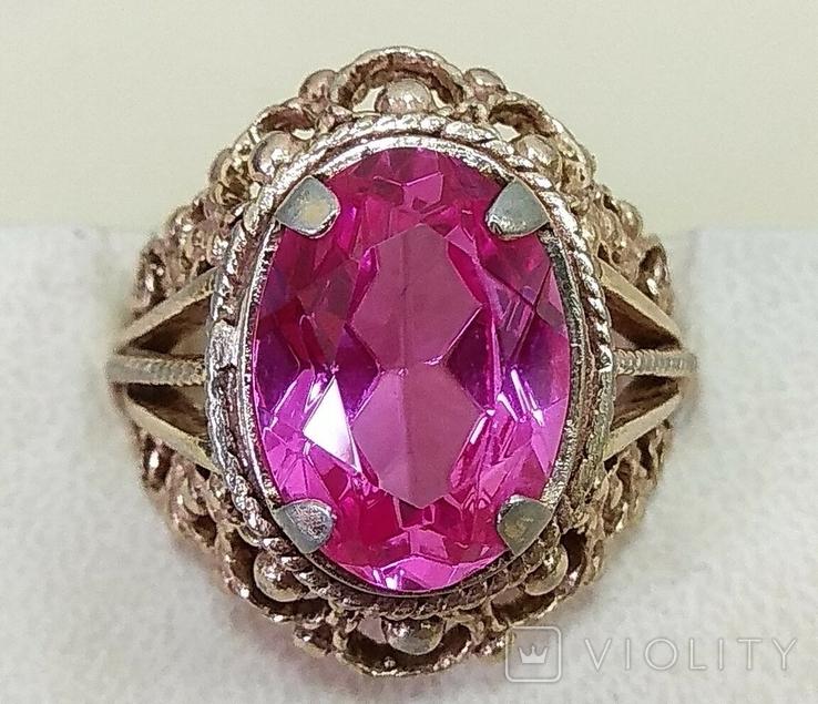 Кольцо с розовым камнем (3), фото №2