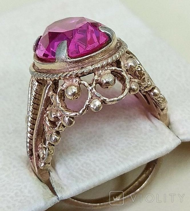 Кольцо с розовым камнем (3), фото №4