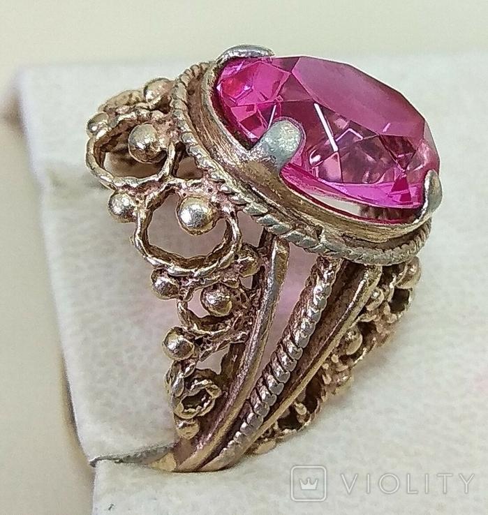 Кольцо с розовым камнем (3), фото №5