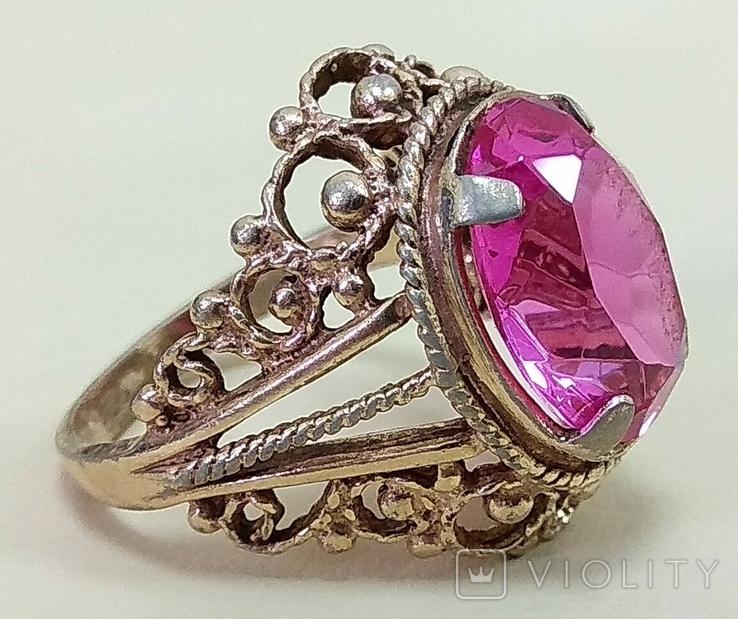 Кольцо с розовым камнем (3), фото №7