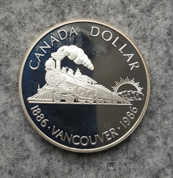 Канада 1 доллар 1986 серебро Пруф Паровоз, фото №2