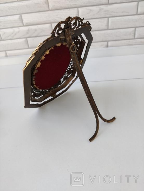 Старая бронзовая рамка с миниатюрой Италия, фото №12