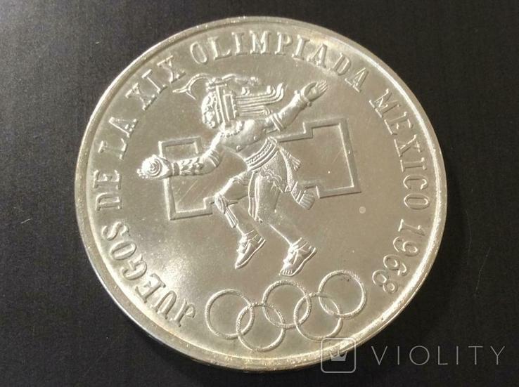 Мексика 25 пенсов 1968 СЕРЕБРО, фото №3