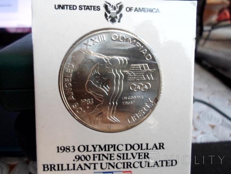 Доллар1983г,Олимпиада,в слабе, фото №3
