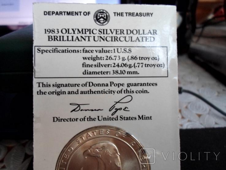 Доллар1983г,Олимпиада,в слабе, фото №6