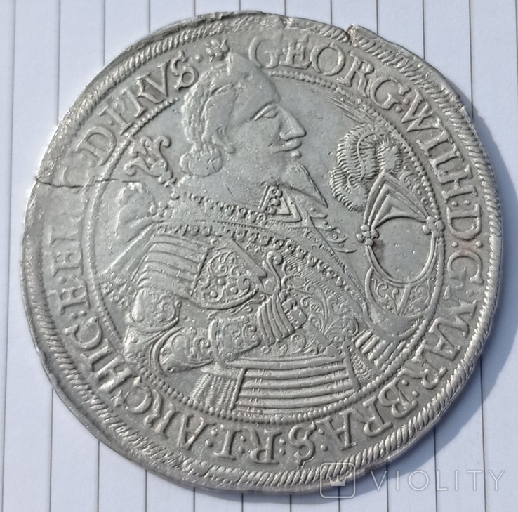 Половина Талера.Георг Вильгельм. Бранденбург 1635 год., фото №3