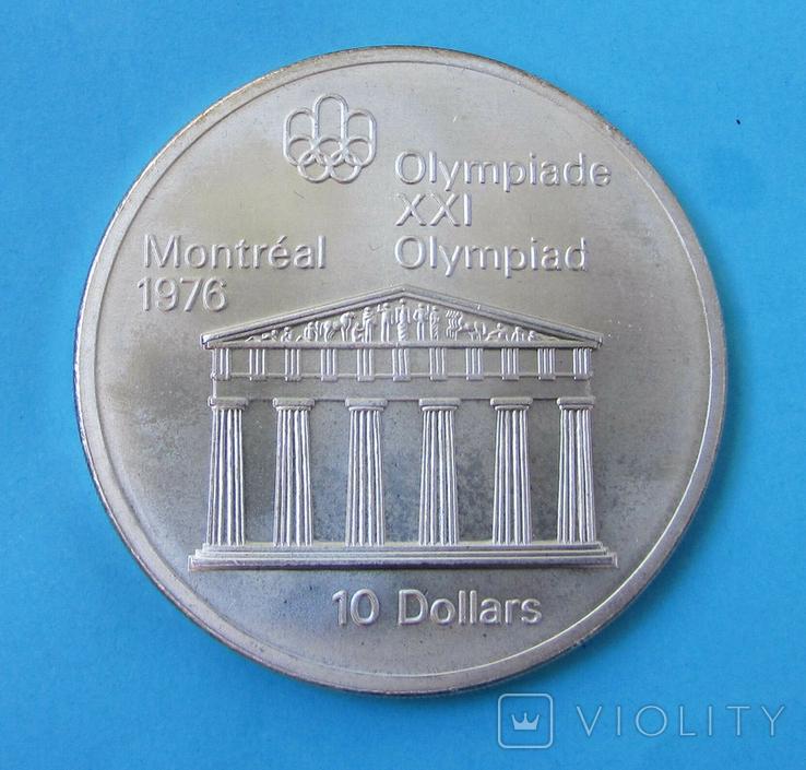 1974 Канада Серебро, 10 долларов Спорт, Олимпиада в Монреале s01, фото №4