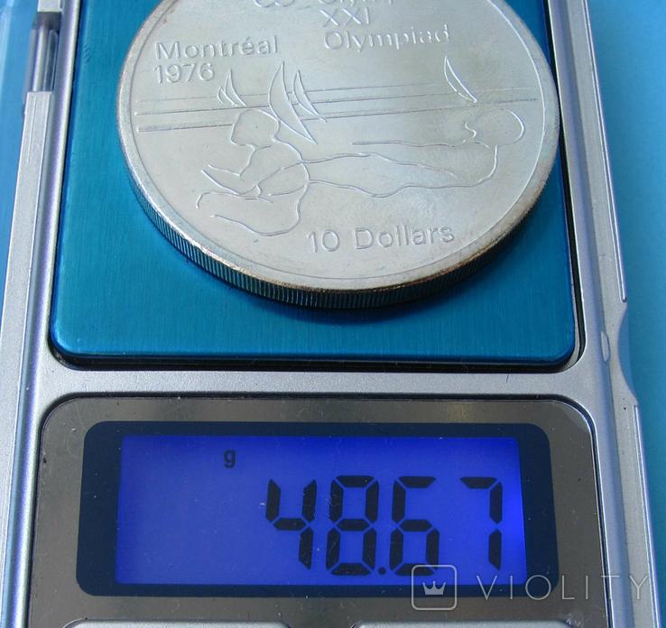 1975 Канада Серебро, 10 долларов Спорт, Олимпиада в Монреале s02, фото №4