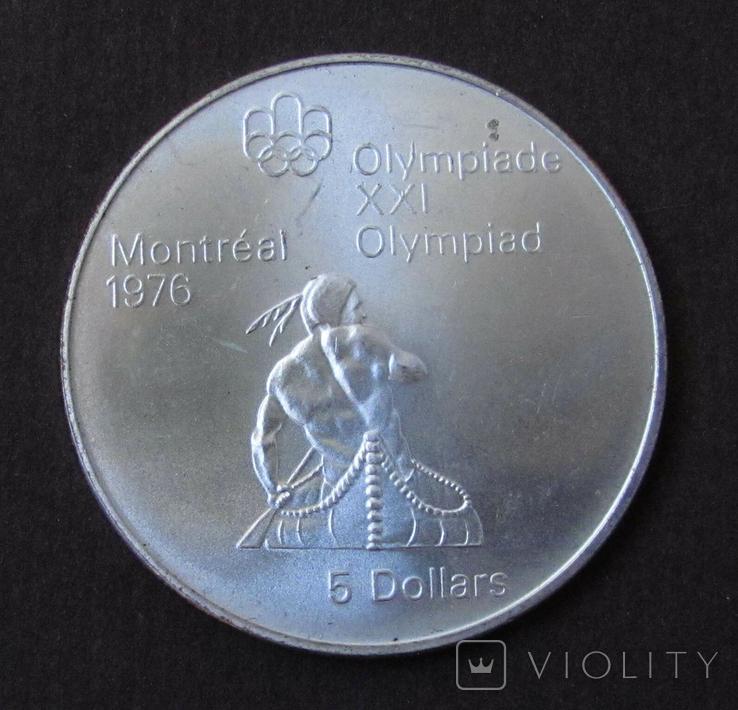 1974 Канада Серебро, 5 долларов Спорт, Олимпиада в Монреале s09, фото №2