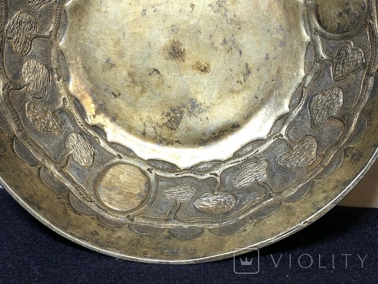 Блюдце для подношений, серебро 84. 1857 г, фото №12