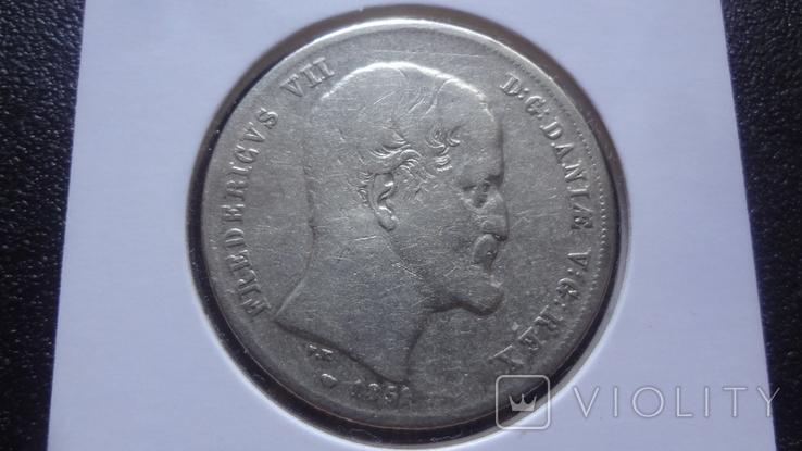 1 риксбандалер 30 шиллингов 1851 Дания серебро Холдер 192, фото №5
