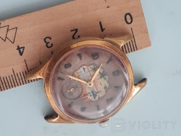 Часы позолоченные с рисунком, фото №5