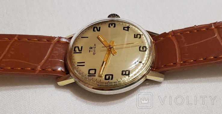 "Швейцарские часы ""TR Quik"" 17 jewels в жёлтом корпусе Swiss made 1980 года., фото №4"