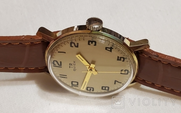 "Швейцарские часы ""TR Quik"" 17 jewels в жёлтом корпусе Swiss made 1980 года., фото №5"