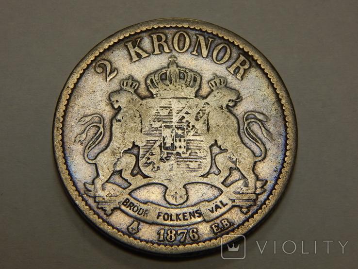 2 кроны, 1876 г Швеция, фото №2