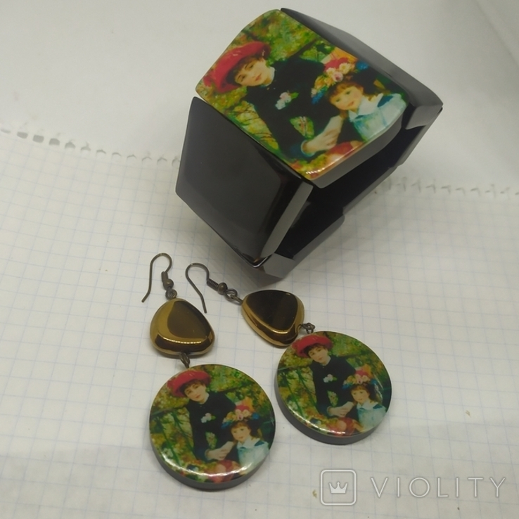 Браслет и серьги с репродукциями Ренуара, фото №2