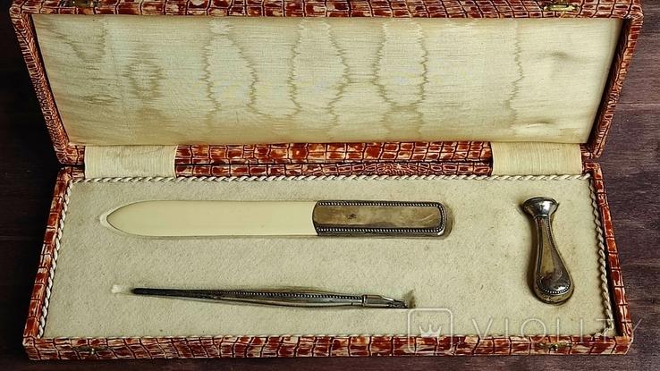 Письменный набор, серебро, фото №2