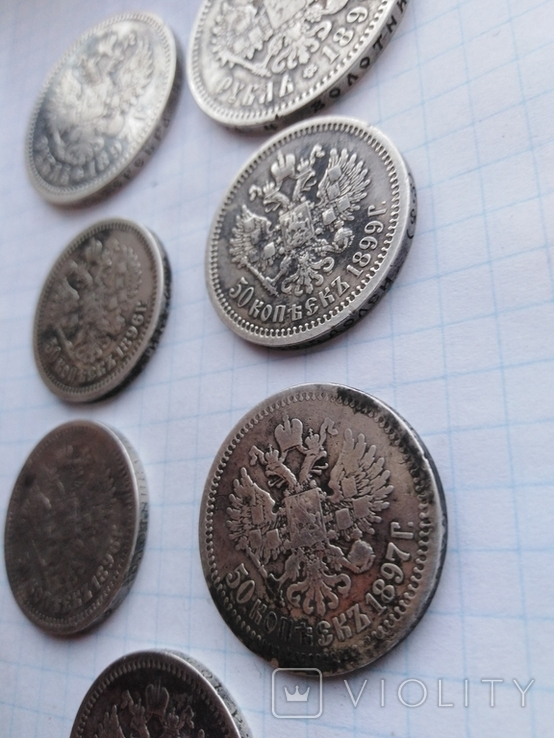 Монеты Николая 2 (серебро) 7 шт, фото №6