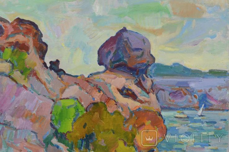 Морской пейзаж со скалами. Петр Добрев, фото №3
