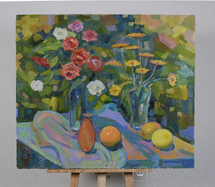 """Натюрморт """"Розы, фрукты и кувшин"""" Петр Добрев, фото №2"""