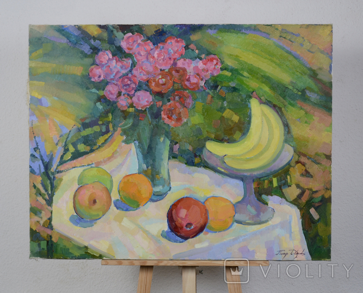 """Натюрморт """"Цветы с фруктами"""" Петр Добрев, фото №2"""
