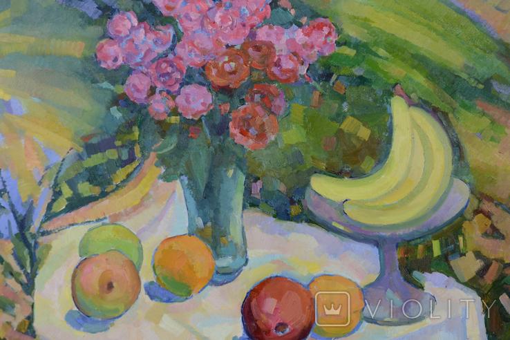 """Натюрморт """"Цветы с фруктами"""" Петр Добрев, фото №3"""
