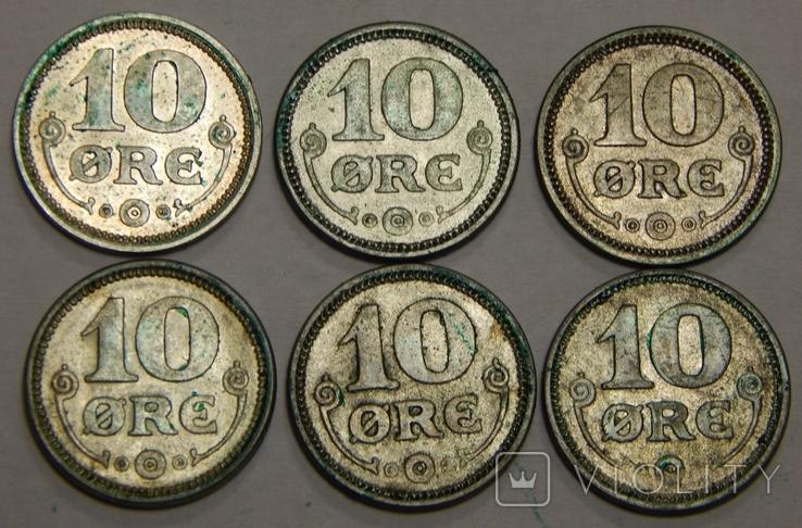 6 монет по 10 оре, Дания, 1914-19 г.г., фото №2