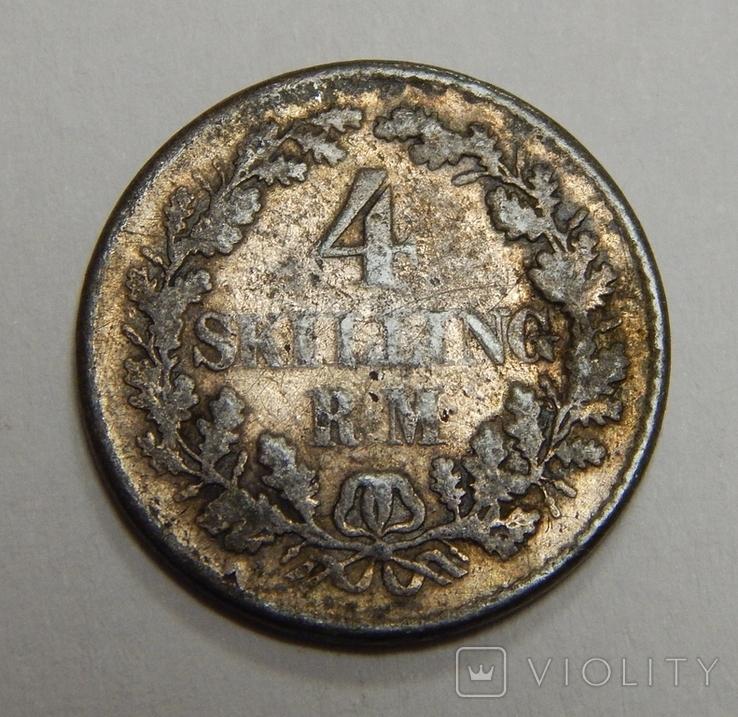4 скиллинга, 1854 г Дания, фото №2