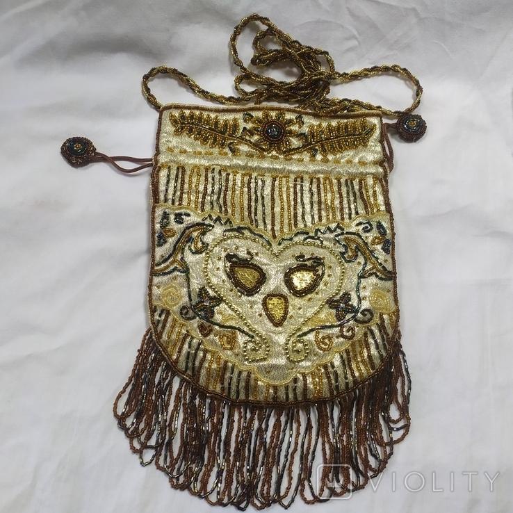Сумочка в винтажном стиле. Расшивка бисером и бисерная бахрома, фото №2