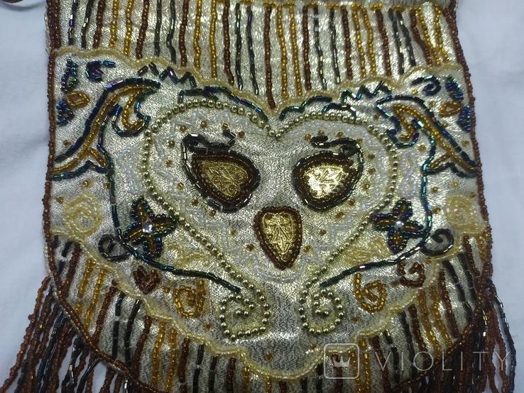 Сумочка в винтажном стиле. Расшивка бисером и бисерная бахрома, фото №4