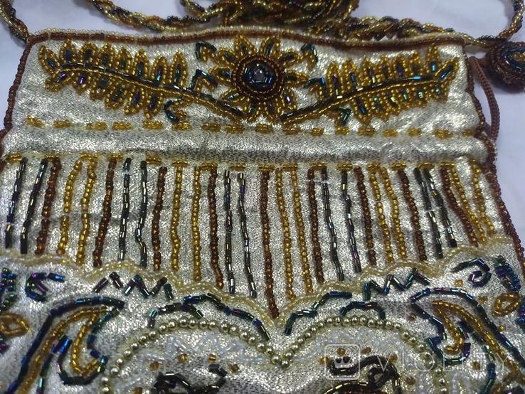 Сумочка в винтажном стиле. Расшивка бисером и бисерная бахрома, фото №5
