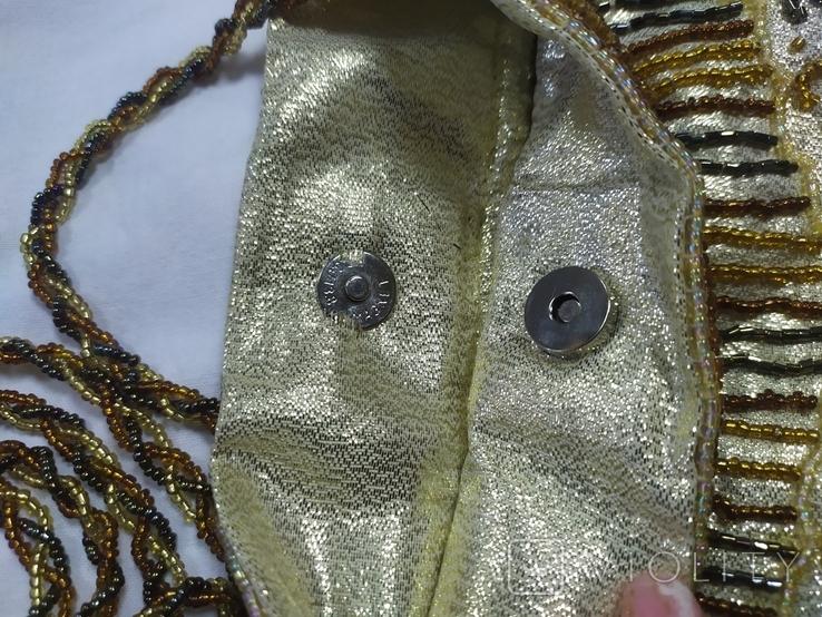 Сумочка в винтажном стиле. Расшивка бисером и бисерная бахрома, фото №10