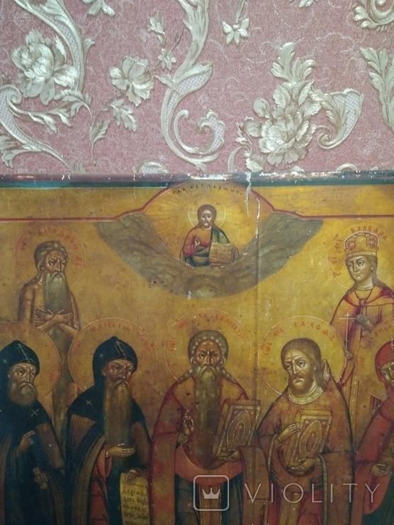Старая храмова икона. Изображение святые. Размер высота 71/62см., фото №5