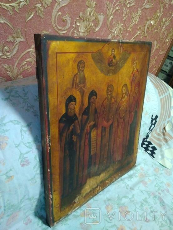 Старая храмова икона. Изображение святые. Размер высота 71/62см., фото №6
