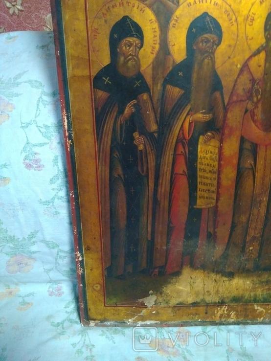 Старая храмова икона. Изображение святые. Размер высота 71/62см., фото №9