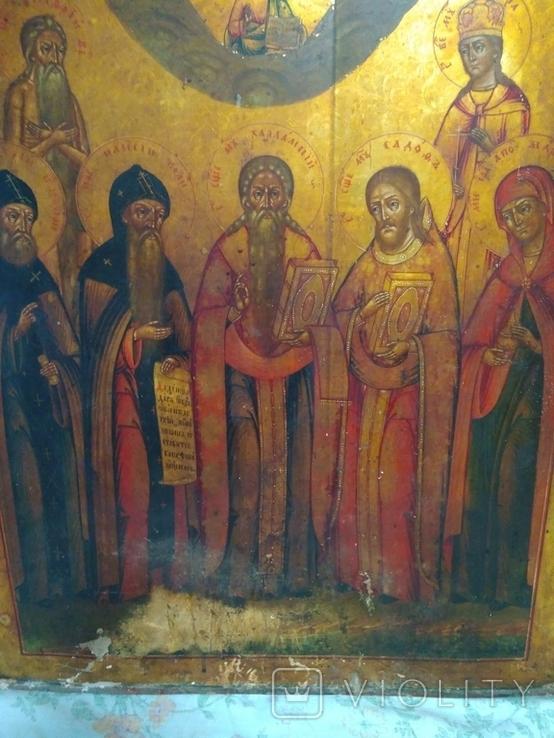 Старая храмова икона. Изображение святые. Размер высота 71/62см., фото №10