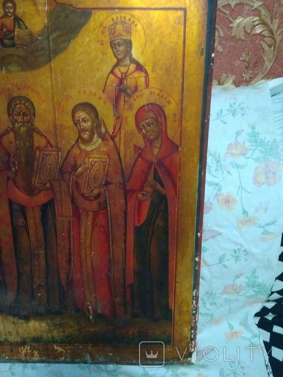 Старая храмова икона. Изображение святые. Размер высота 71/62см., фото №11