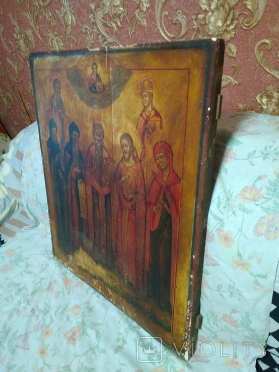 Старая храмова икона. Изображение святые. Размер высота 71/62см., фото №12