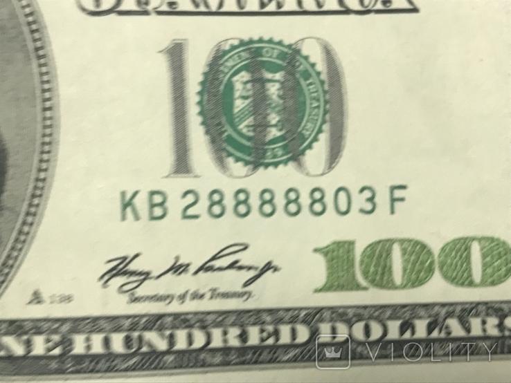 100 долларов США КВ28888803F, фото №2