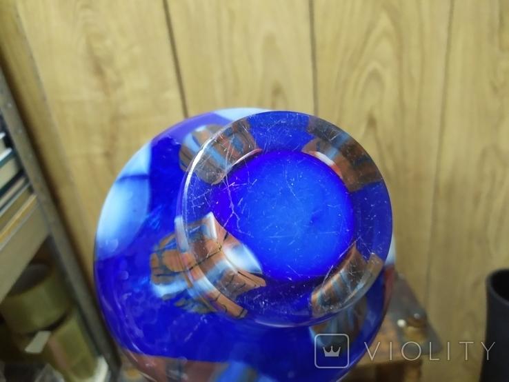Ваза из многоцветного стекла. Высота 18см, вес 1,8кг, фото №8